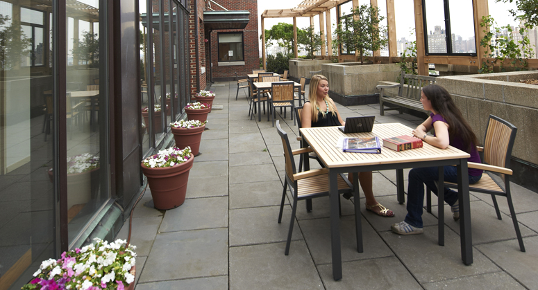 Students on D'Agostino Hall terrace