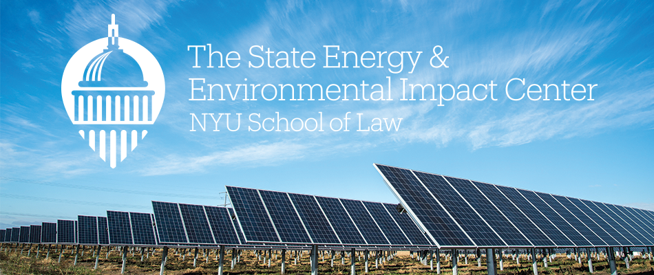 The State Energy & Environmental Impact Center logo and photograph of solar panels in a field
