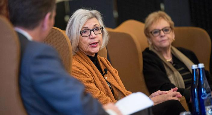 Dean Trevor Morrison, Chief Justice Beverley McLachlin, and Distinguished Jurist in Residence Dorit Beinisch