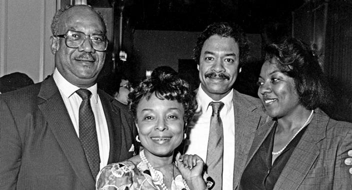 Fritz Alexander II '51, Betty Staton '79, Luis Booth, and Joanne Johnson '79 in 1985