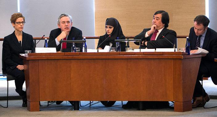 L to R: Margaret Satterthwaite '99, Gordon Brown, Shaheed Fatima, Harold Koh, and Andrew Hilland LLM '08