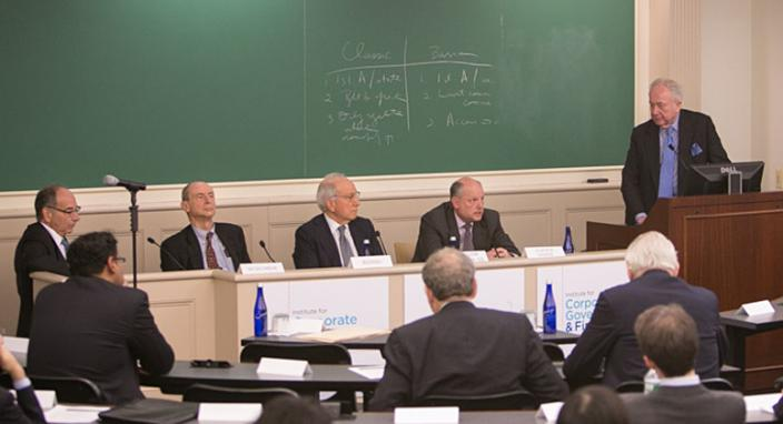 From left: Robert Schumer, Jean-Pierre Rosso, Matthew Mallow, Leo Strine Jr., and Martin Lipton