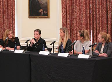 Micaela McMurrough, Edna Conway, Andrea Limbago, Melody Hildebrandt, and Sophia D'Antoine