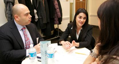 An LLM student interviews with a global law firm at the International Student Interview Program.