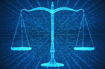 The Scales of Justice with binary code running through them