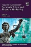 """""""Research Handbook on Corporate Crime and Financial Misdealings"""" book cover. Lady Justice holding the Scales of Justice with white text saying the book title and authors name."""