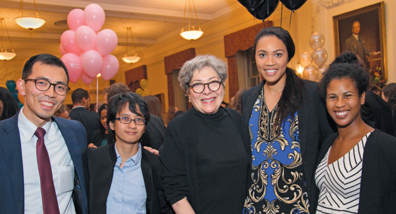 C.V. Starr Scholars and Starr Foundation Global Scholars with NYU Law Board of Trustees Vice Chair Florence Davis '79
