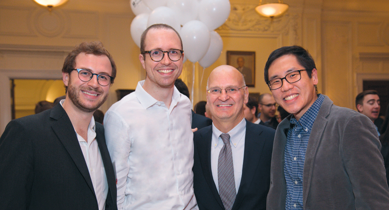 Desmarais Law and Technology and Desmarais LLP Scholars Thomas McBrien '21,  Benjamin Morris '20, and Daniel Yee '21 with NYU Law Trustee John Desmarais '88