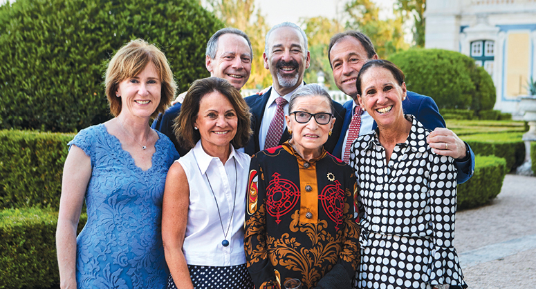 front row: Jean Moran Kaplan, Shari Aronson, Justice Ruth Bader Ginsburg, and Elisabeth Chasin; back row: Jeffrey Aronson '83, Stephen Kaplan '83, and Charles Chasin '83.