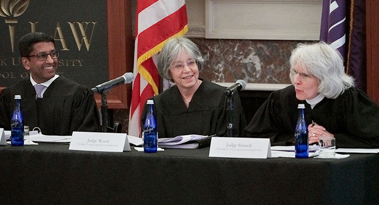 "Left to Right: Judge Padmanabhan Srikanth ""Sri"" Srinivasan of the United States Court of Appeals for the District of Columbia Circuit, Judge Diane P. Wood of the United States Court of Appeals for the Seventh Circuit and Judge Jane B. Stranch of the United States Court of Appeals for the Sixth Circuit"