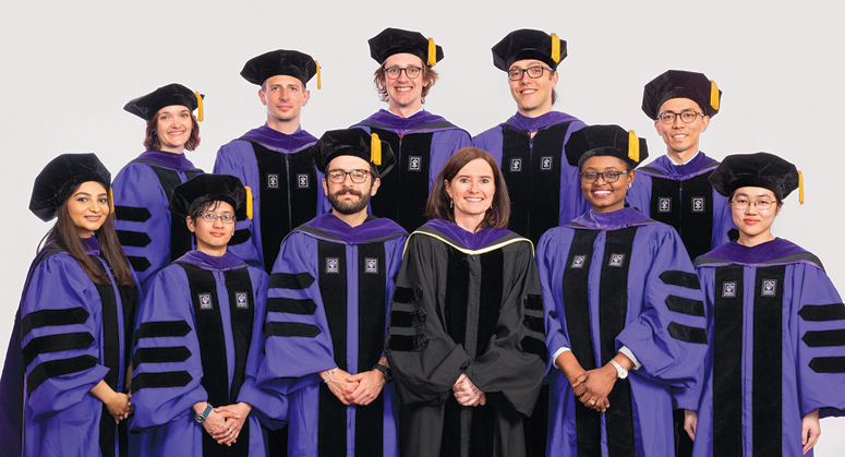 Hauser Global Law Scholars, Back Row: Rosa Polaschek, Mathias Kjærsgaard Larsen, Myles Olliffe Pulsford, Felix Boos, Kei Kajiwara Front Row: Harshita Bhatnagar, April Carmela Lacson, Carlos Andrés Baquero Díaz, Ngozi Nwanta, and Luwei Wang. The graduates were hooded by Professor Gráinne de Búrca