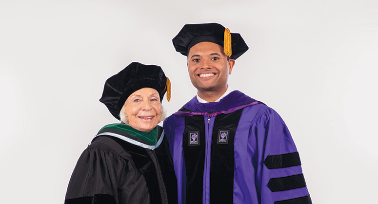 John D. Grad Memorial Scholar (AnBryce Program) Micah Desaire was hooded by Dr. Joyce Lowinson