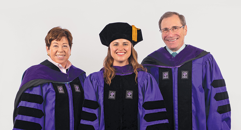 Nordlicht Family Scholar (Grunin  Center for Law and Social Entrepreneurship) Eliza Chute was hooded by Professor Helen Scott and Ira Nordlicht '7