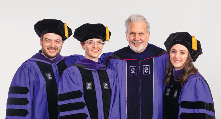 John Sexton Scholars Zachary Freeman, Julia Schuurman, and Micaela Heery were  hooded by Professor John Sexton, NYU president emeritus and NYU Law dean emeritus