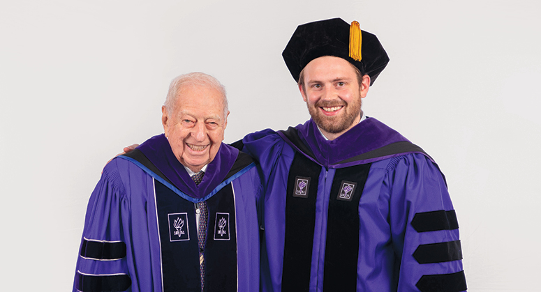 Sinsheimer Public Service Scholar Sean Eagan was hooded by NYU Law Trustee Warren Sinsheimer LLM '57