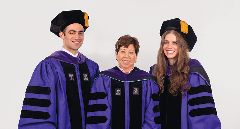 Rosenfeld Macaulay Pipeline Scholars Michael Manopla and Debra Erlich were hooded by Professor Helen Scott (for NYU Law Trustee and Professor Gerald Rosenfeld)
