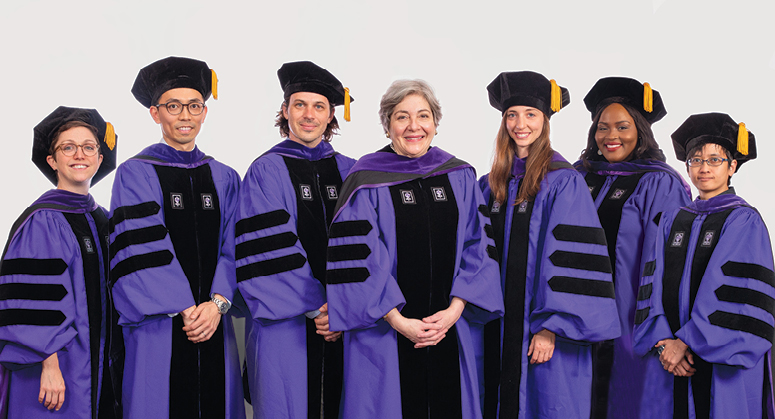 C.V. Starr and Starr Foundation Scholars Molly Griffard, Kei Kajiwara, Seamus Yarbrough, Jessica Crandall,  Ngwika Fomba, and April Carmela Lacson with NYU Law Board of Trustees Vice Chair Florence Davis '79