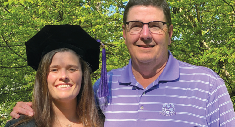 Maria Bourdeau LLM '20, Dean's Graduate Scholar and Ralph and Cynthia Finerman Scholar, with her father, Paul Bourdeau LLM '84