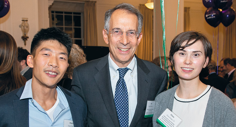 SULLIVAN & CROMWELL PUBLIC INTEREST SCHOLARS (Root-Tilden-Kern Program) Daniel Lee '22 and Elena Hodges '22 with NYU Law Trustee Kenneth Raisler '76