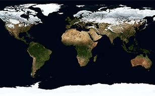A satellite image of Earth, showing all seven continents.