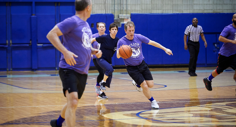 Dean Morrison at faculty basketball game during Dean's Cup