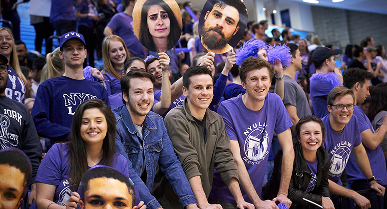 NYU Law students cheering at 2018 Dean's Cup