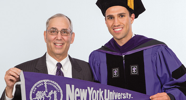 Hillel Neumark with his father Avery Neumark LLM '80