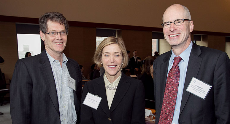Michael Loucks, Professor Kate Stith-Cabranes and Gregory Demske posing together