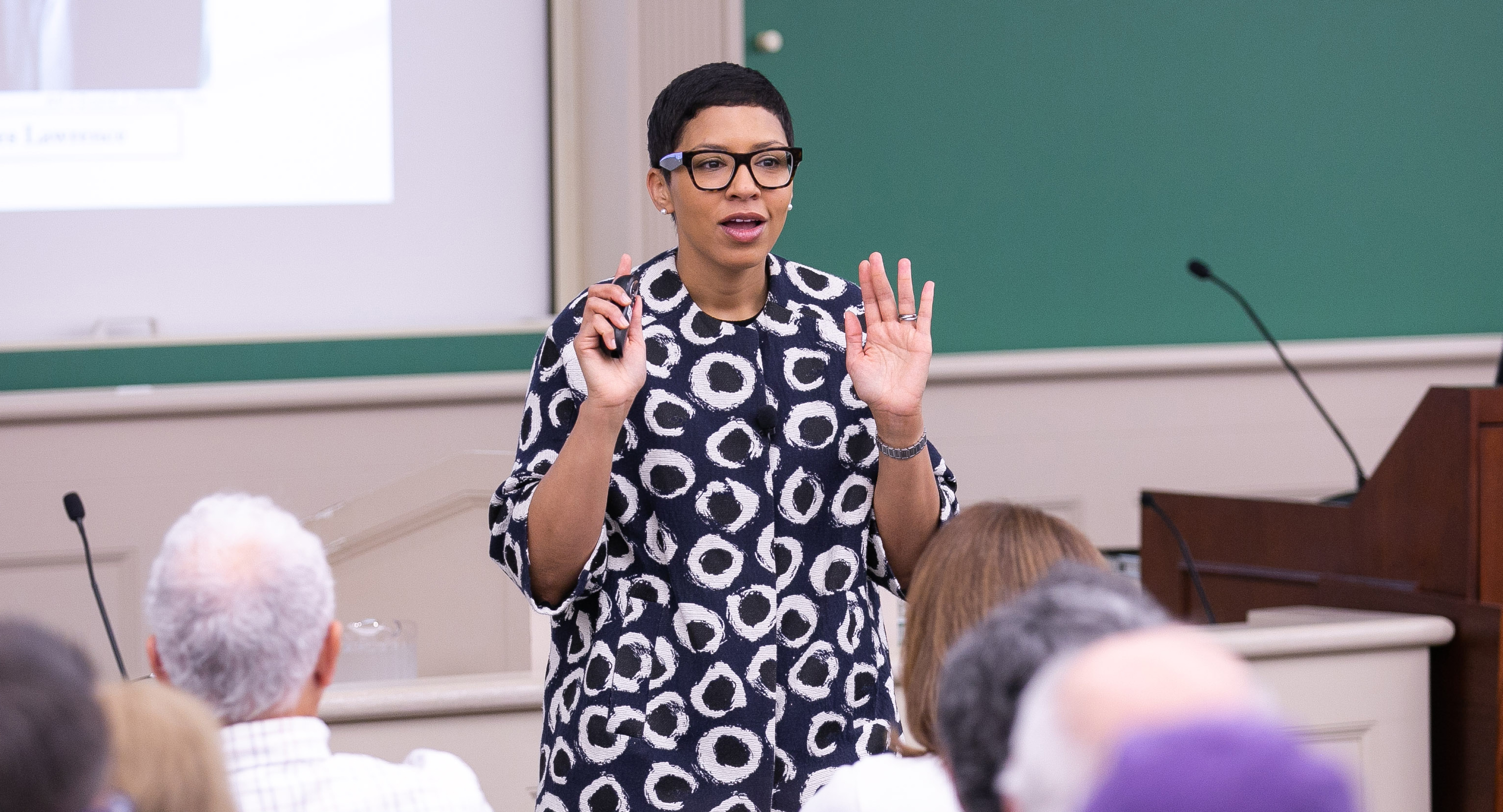 Professor Melissa Murray teaching a class during reunion weekend 2019