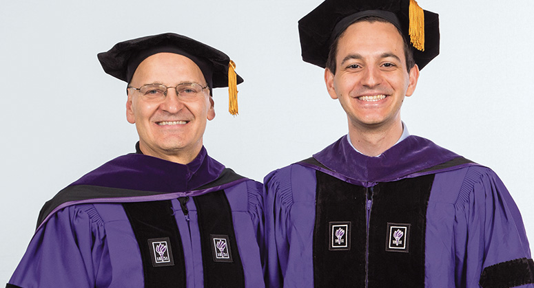 Desmarais LLP Scholar Raymond Habbaz was hooded by NYU Law Trustee John Desmarais '88