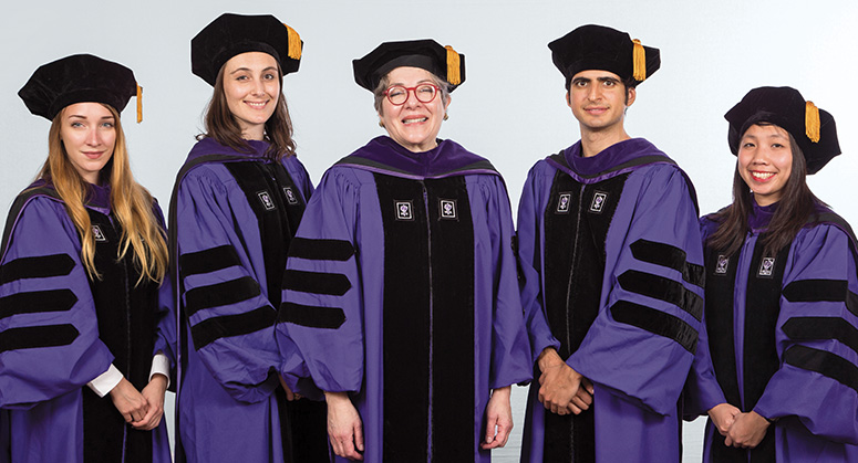 Starr Foundation Scholars Kresimira Kruslin, Grace Watson Keesing, Marco Dell'Erba, and Pichaya Winichakul were hooded by NYU Law Trustee Florence Davis '79