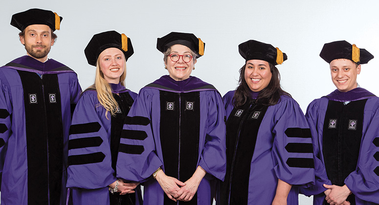 C.V. Starr Scholars Henrik Born, April McLeod, Sara Maldonado, Thomas Loy, Andrea Abarca (not pictured), and Gabriel Malone-O'Meally (not pictured) were hooded by NYU Law Trustee Florence Davis '79