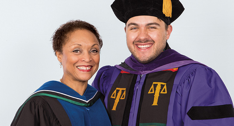 Derrick Bell Scholar for Public Service (LACA) Nicholas Duque-Franco was hooded by Janet Dewart Bell