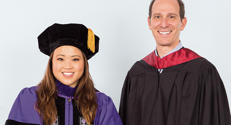 Maite Aquino Scholar (AnBryce Program) Haley Ahn was hooded by Nicholas Rudenstine
