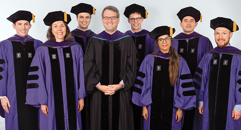 Furman Academic and Public Policy Scholars Nicholas Krafft, Elizabeth Aronson, Ryan Sila, Daniel Loehr, Mala Chatterjee, Pablo Rojas, and Stephen Levandoski were hooded by the Honorable Jesse Furman