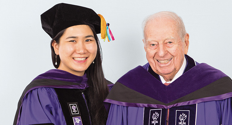Sinsheimer Public Service Scholar Victoria Yee was hooded by NYU Law Life Trustee Warren Sinsheimer LLM '57
