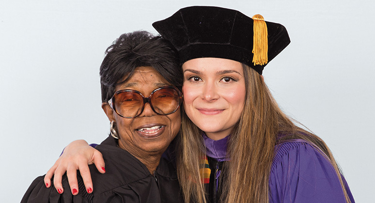 Honorable Charles Swinger Conley Scholar (AnBryce Program) Claudia Carvajal Lopez was hooded by Ellen Conley