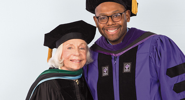 John D. Grad Memorial Scholar (AnBryce Program) Tony Joe was hooded by Dr. Joyce Lowinson