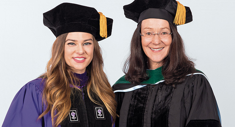 Michelle Musielewicz (Jacob Marley Foundation Scholar in Memory of Christopher Quackenbush '82, AnBryce Program) was hooded by Gail Quackenbush