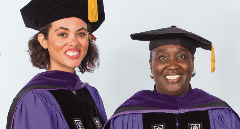 Calisha Myers '15 Memorial Scholar Lauren Cole was hooded by Twanna Spurgeon in memory of her late daughter, Calisha
