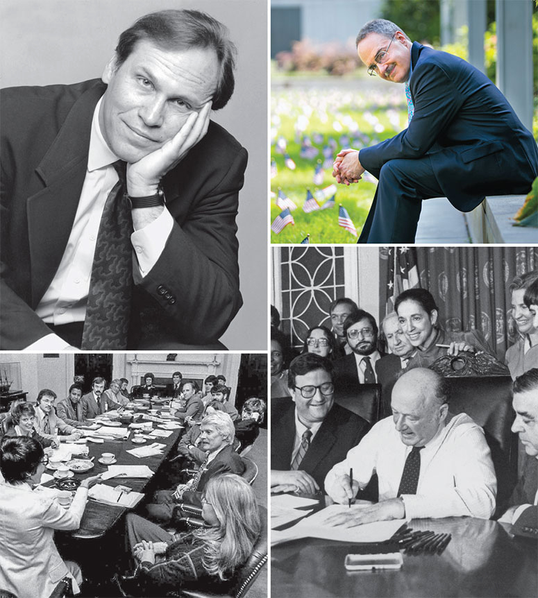 Clockwise, from top left: Tom Stoddard '77; Daniel Pinello '75; Mayor Ed Koch '48  signed a gay rights bill in 1986; Marilyn Haft '68 (lower right) helped arrange the  first meeting of gay and lesbian rights activists at the White House.
