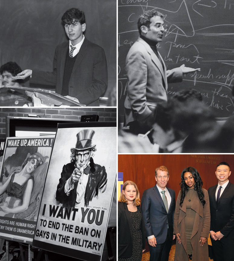 Clockwise, from top left: Tom Kirdahy '88; David Richards; Elizabeth Lewis '20, Trevor Morrison, Tsion Gurmu '15, and Sean Chang '20; protest posters in 2006.
