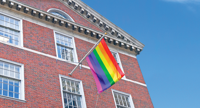 Rainbow Flag waving in front of Vanderbilt Hall at NYU Law