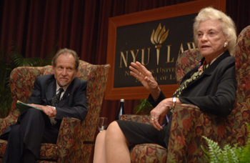 Justice O'Connor onstage with Prof. Oscar Chase