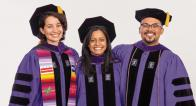 Latinx rights scholars Astrid Reyes Bonilla and Gerardo Romo were hooded by Professor Alina Das '05