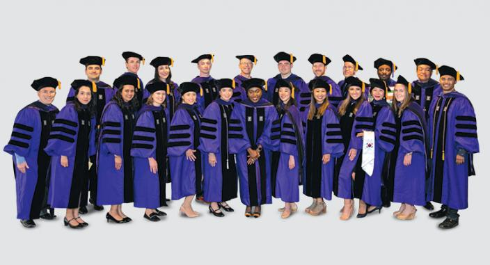 The inaugural class of Master of Science in Cybersecurity Risk and Strategy (MSCRS) graduates, with MSCRS Faculty Director and NYU Law Life Trustee Randal Milch '85