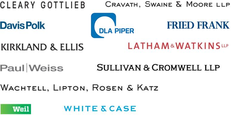 graphic showing logos of several law firms
