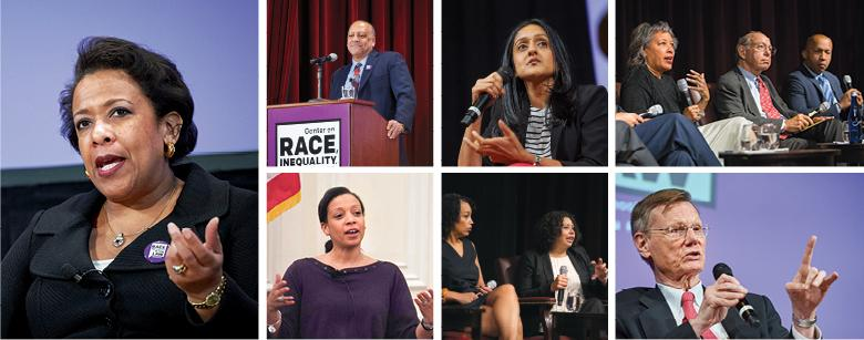 CLOCKWISE Loretta Lynch, Feb 2016; Faculty Director Anthony Thompson; Vanita Gupta '01, Mar 2018; Kim Taylor-Thompson, Burt Neuborne, and Bryan Stevenson, Sep 2017;  Stephen Bright, Mar 2018; Lisa Davis '85 and Damaris Hernández '07, Oct 2017; Jennifer Ri