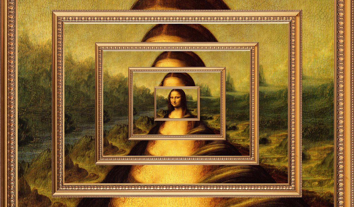 Copies of the Mona Lisa painting on top of one another