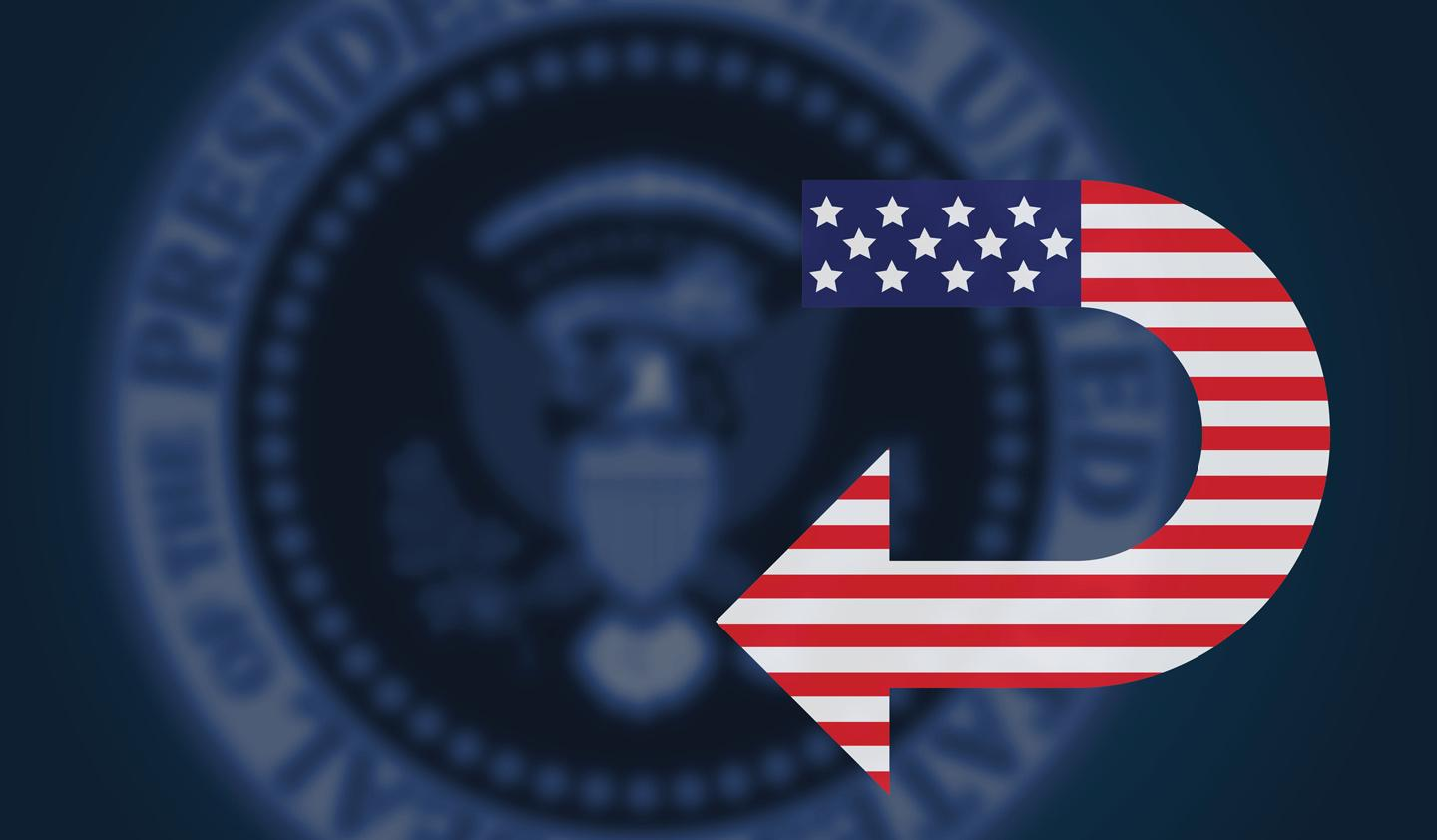 Artwork of Presidential seal and American Flag U-turn symbol